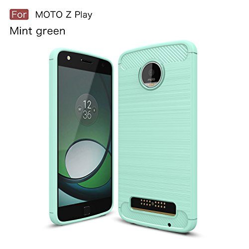 Price comparison product image Moto Z Play Case,DAMONDY Brushed Armor Resilient Shock Absorption Carbon Fiber [Wiredrawing Series][SOFT] Full Protection Phone Case for Motorola Moto Z Play Droid 2016 -Mint