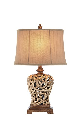 Catalina Lighting 19085-001 Traditional 3-Way Open Scroll Table Lamp and Soft Sided Shantung Shade, LED Bulb Included, 28