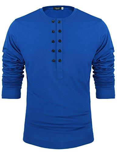 edb3a549c0d Hasuit Mens Casual Regular Fit Raglan Baseball Long Sleeve Henley T-Shirts