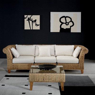 Charmant Seagrass Sofa With Cushions Fabric: Seaworthy Blue