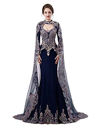 Elinadrs Sexy Satin Long Sleeves Evening Dress With Veil Bead Mermaid Formal Gowns Navy Blue US8