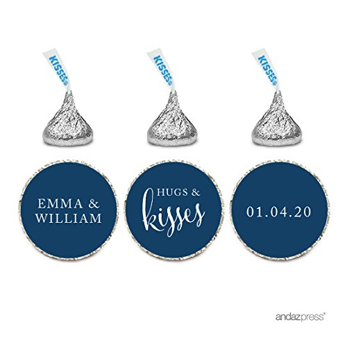 Andaz Press Personalized Wedding Chocolate Drop Label Stickers, Hugs and Kisses, Navy Blue, 216-Pack, For Engagement Bridal Shower Hershey's Kisses Party Favors