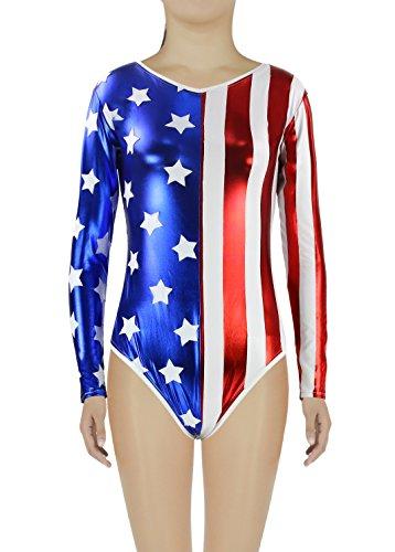 AveryDance Womens Shiny Metallic USA Patriotic Gymnastics Leotard, USFlag, S