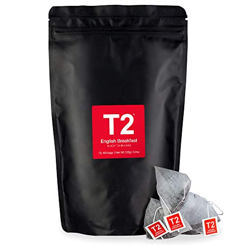 - T2 Tea English Breakfast Black Tea Bags in Resealable Foil Refill Bag, 60-count