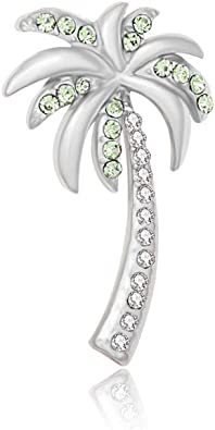 CRYSTAL GREEN PALM TREE BROOCH PIN MADE WITH SWAROVSKI ELEMENTS