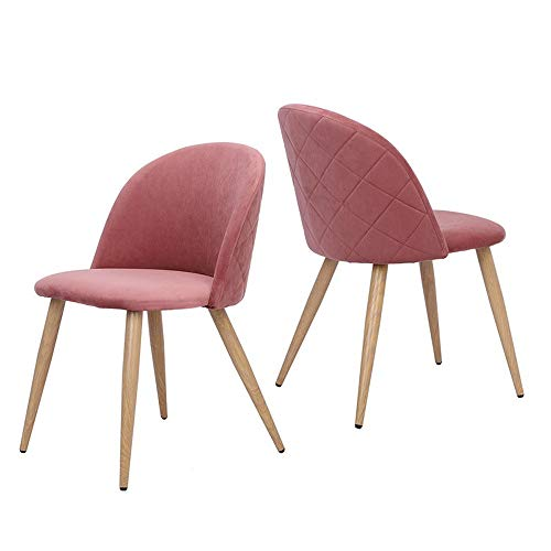 Mellcom Dining Chairs Mid Century Modern Accent Velvet Leisure Chairs Upholstered Side Chairs with Wood Legs for Home, Set of 2 / Pink (Dining Chairs Upholstered Side)
