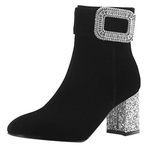 Boots for Women Winter with Rhinestone Buckle Boots Pointed Female Rough High Heels Shoes Warm Boots Booties Black