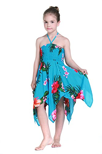 Girl Gypsy Uneven Button Hawaiian Luau Dress in Turquoise