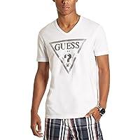 GUESS Factory Men's Bordeaux Logo V-Neck Tee
