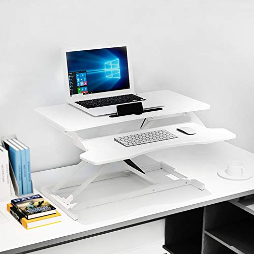LIULIFE Laptop Stand for Desk Sit Stand Height Adjustable Desk Computer Workstation Standing Desk Converter with Keyboard Tray,White-WithKeyboardBoard by LIULIFE (Image #5)