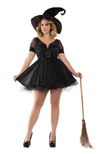 Party King Women's Plus Size Bewitching Pin-Up Witch Costume, Black, 3X