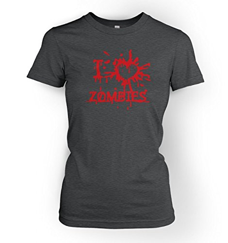 I Heart Zombies Womens T-shirt - Dark Heather X Large (approx Size 14)