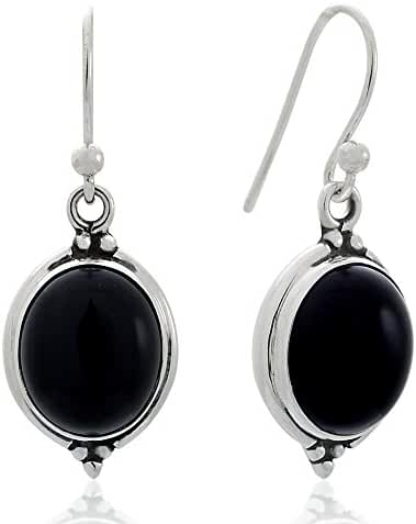 925 Oxidized Sterling Silver Natural Gemstone Oval Shaped Vintage Dangle Hook Earrings 1.3