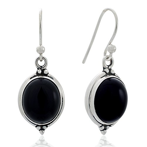 - 925 Oxidized Sterling Silver Black Onyx Gemstone Oval Shaped Vintage Dangle Hook Earrings 1.3