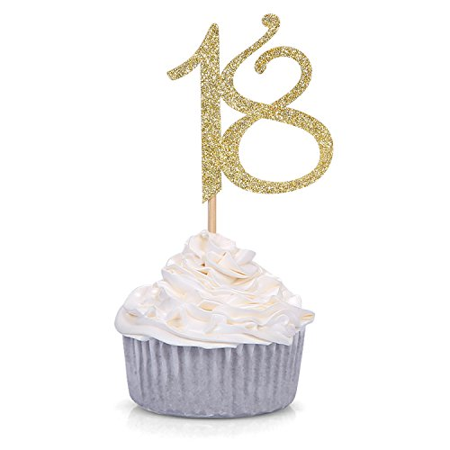 Price comparison product image 24 PCS Gold Number 18 Cupcake Toppers 18th Birthday and Anniversary Celebrating Party Decors