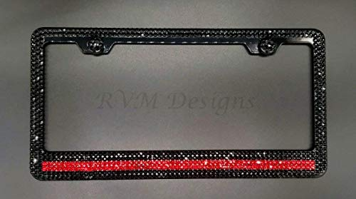 (Bling Thin Red Line 6 Row Black Metal License Plate Frame with Jet Black Swarovski Crystals - Bling)