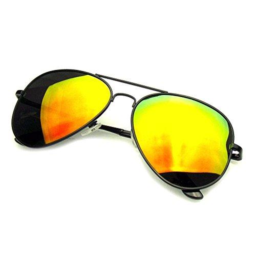 Aviator Sunglasses Mirror Lens New Men Women Fashion Frame Retro Pilot (Polarized Lens | Black Red, 0)