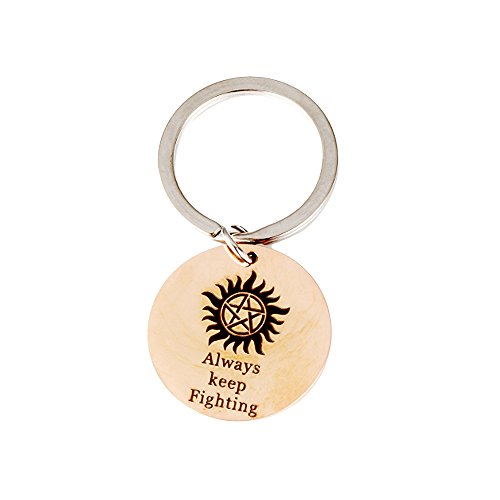 Meiligo Boyfriend Girlfriend Gift Humor Jewelry Always Keep Fighting Key Chain Supernatural Pattern for Couples (Rose Gold)