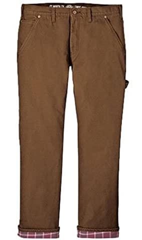 Dickies Men's Relaxed Straight Fit Flannel-lined Carpenter Jean, Brown Duck, 34x34 - Dickies Lined Jeans