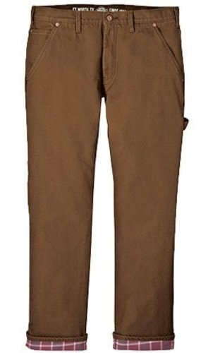Dickies Men's Relaxed Straight Fit Flannel-lined Carpenter Jean, Brown Duck, 30x32 ()