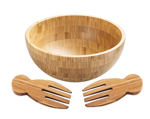 Strova Bamboo Salad Bowl with 2 Serving Utensils (3-Piece Set) Big, Natural Wood Dishware | Serve Chopped Veggies, Fruit, Snacks, Appetizers | Versatile Kitchen Use