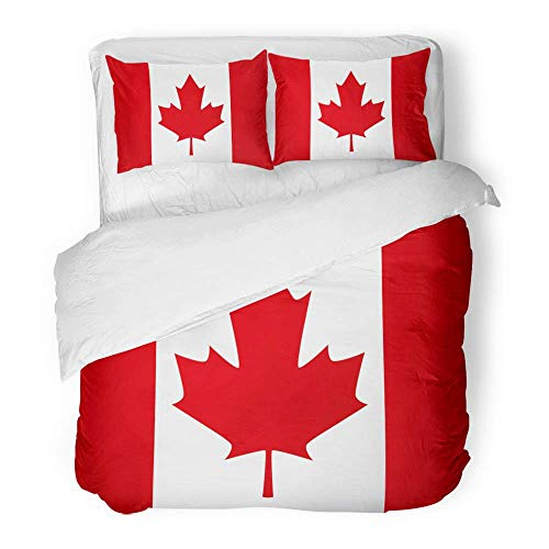 MIGAGA Decor Duvet Cover Set King Size Canada Canadian Flag Leaf Maple 1St July Day 3 Piece Brushed Microfiber Fabric Print Bedding Set Cover