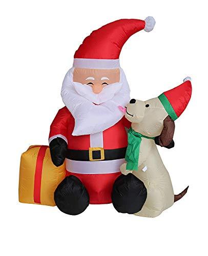 Top Treasures 5 ft Christmas Inflatable Santa Claus and Dog | Yard Decoration Christmas Inflatables (Up Light Dog Christmas Decoration)