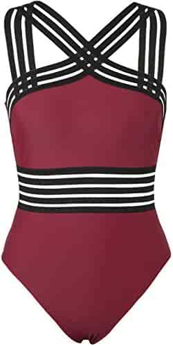 e16ad7ca04 Hilor Women's One Piece Swimwear Front Crossover Swimsuits Hollow Bathing  Suits Monokinis