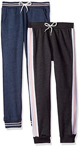 Freestyle Revolution Girls' Big Active Heathered Fleece Jogger Pants (2 Pack), Charcoal Grey Denim, 10 ()