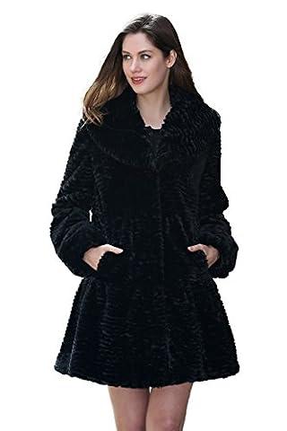 Adelaqueen Women's Winter Black Big Lapel Collar Persian Lamb Stylish Faux Fur Coat Size XL