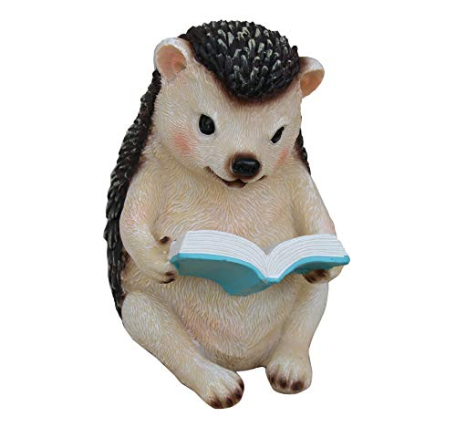 TABOR TOOLS Hedgehog Reading Book Ornament, Terrace Figurine, Miniature Statue, Cute Patio Porcupine Figure, Outdoor Decor, Sculpture for Your Garden, Home or Office. DM423A. (Hedgehog Reading Book)