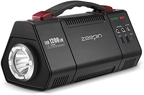 ZEEPIN Generators Portable Power Station 155Wh 42000mAh Backup Lithium Battery Pack Solar Power Supply Generator with 100W Peak 150W 10W LED Flashlight for Power outages Emergency Outdoor AC Outlet