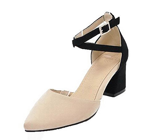 VogueZone009 Women Frosted Closed-Toe Kitten-Heels Assorted Color Sandals Beige
