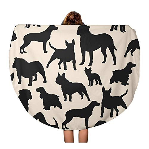 Semtomn 60 Inches Round Beach Towel Blanket Dogs Silhouette Colorful Airedale French Bulldog Cocker Spaniel Bull Travel Circle Circular Towels Mat Tapestry Beach Throw