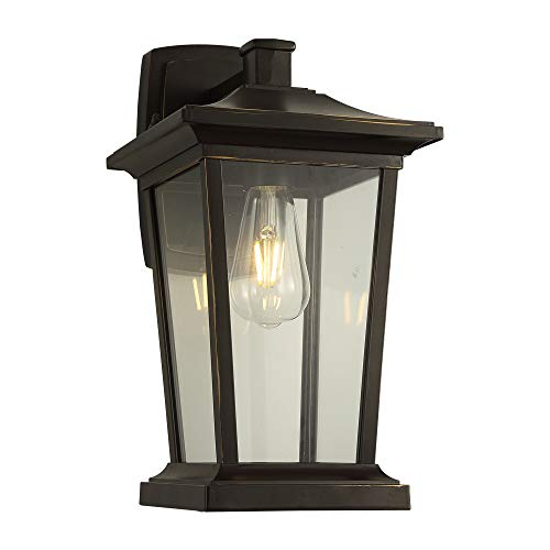 - Outdoor Patio/Porch Wall Mount Light Fixture, 1-Light Exterior Sconces Lantern in ORB Finish with Clear Glass for Porch Front Garden, 60W