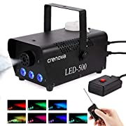 #LightningDeal Fog Machine, 7 Color LED Lights, Crenova FM-03 Compact Portable Smoke Machine, Wireless Remote, Best Mist Machine for Halloween Party Festival Wedding Stage Effect, 500W-Black