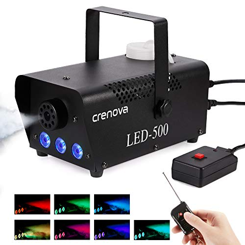 Fog Machine, 7 Color LED Lights, Crenova FM-03 Compact Portable Smoke Machine, Wireless Remote, Best Mist Machine for Halloween Party Festival Wedding Stage Effect, 500W-Black]()