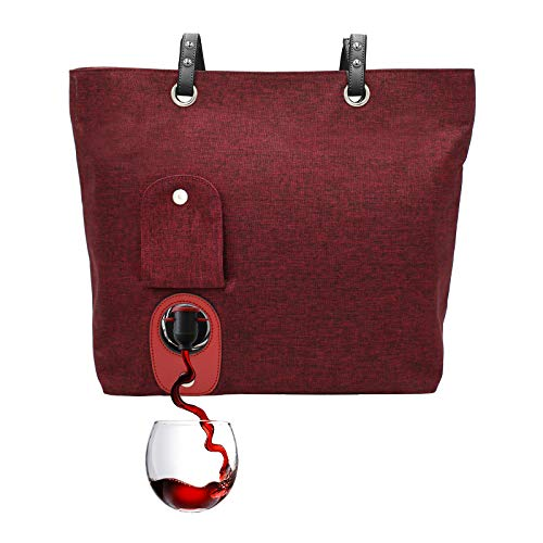 PortoVino City Wine Tote (Burgundy) - Fashionable Wine Purse with Hidden, Insulated Compartment, Holds 2 Bottles Wine!