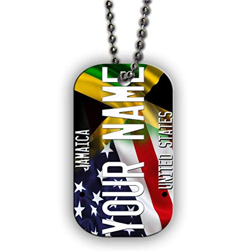 Rasta Single (BRGiftShop Personalize Your Own Mixed USA and Jamaica Flag Single Sided Metal Military ID Dog Tag with Beaded Chain)