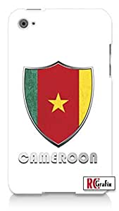 Premium Cameroon Flag Badge Direct UV Printed Apple ipod 4 Quality Hard Case Snap On Skin for ipod 4/4G (WHITE)