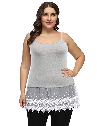 Trim Ruffle Cami (Women Plus Size Extender Camisole Dress Slip Spaghetti Tank Top Lace Trim 22W Gray)