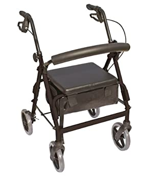 "Essential Medical Supply The Blazer 4 Wheel Walker with 8"" Wheels and Pouch/Basket in Black"