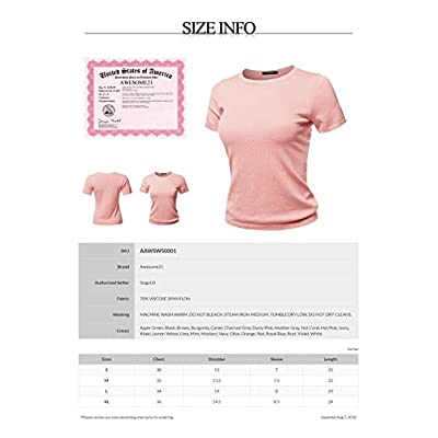 Women's Classic Solid Round Neck Short Sleeve Viscose Knit Sweater Top at Women's Clothing store