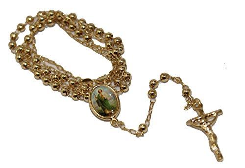 Diamantados of Florida San Judas Rosary Necklace 24 Inch - St. Jude Thaddeus Rosary 18k Gold Plated