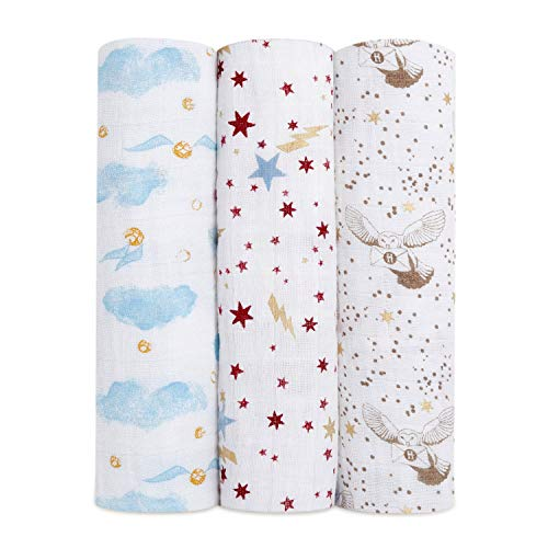 aden + anais Harry PotterTM Baby Swaddle Blanket|Metallic Muslin Blankets for Girls & Boys|Receiving Blanket, Newborn Nursery Gifts, Unisex Infant & Toddler Shower Items, Swaddling 3 Pack, Hogwarts