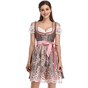 Clearlove Dirndl 3 pcs.Ladies Midi Traditional Dress for Oktoberfest,Carnival,Lace Dress & Blouse & Apron