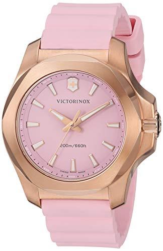 (Victorinox Women's I.N.O.X. Stainless Steel Swiss-Quartz Rubber Strap, Pink, 18 Casual Watch (Model:)