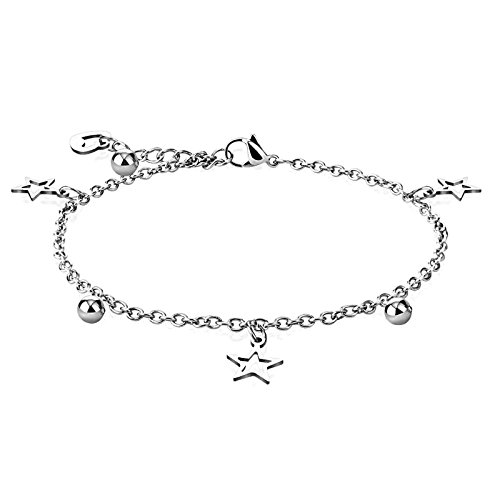 EC Lanes Star & Ball W/Heart Dangling Charm Chain 316L Stainless Steel Anklet/Bracelet (Dangling Star Anklet)
