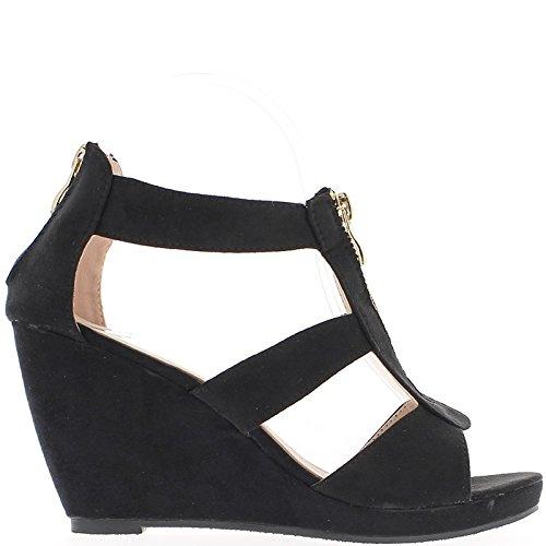 Sandales compensées noires à talon de 9cm et brides larges à plateau