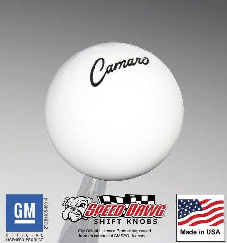 SK502CAMS68-GM-BK Speed Dawg GM Licensed Series /'68-/'69 Camaro Script White// Black Shift Knob